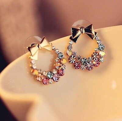New Fashion 1pair Women Lady Elegant Crystal Rhinestone Ear Stud Earrings