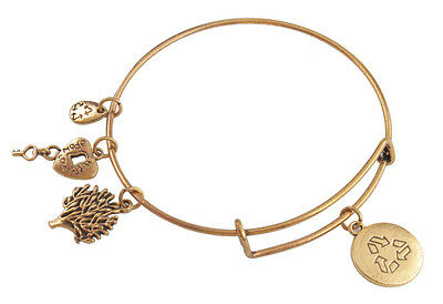 Antiqued Gold Expandable Wire Bangle Recycle Logo Charm Bracelet #91983