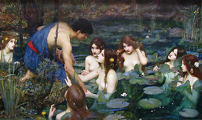 """J.William Waterhouse.Hylas_and_the Nymphs. Art Reproduction 20""""x 32""""PRINT-CANVAS"""