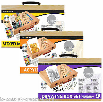 Daler Rowney Artist Paint & Pencil, Acrylic Drawing Mixed Media Wooden Box Sets