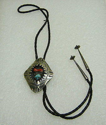 Estate Sterling Silver Turquoise & Coral Shadow Box Hopi Guild Bolo Tie N231-D