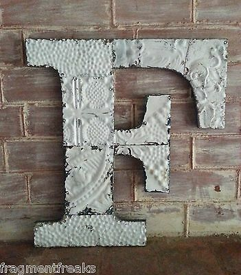 "Large Antique Tin Ceiling Wrapped 16"" Letter 'F' Patchwork Metal Mosaic White G1"