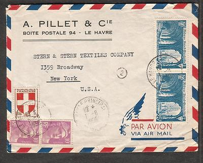 1950 air cover A Pillet Co Le Harve France to Stern & Stern Textiles NY