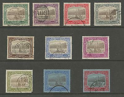 ST KITTS-NEVIS SG48-57 THE 1923 GV TERCENTENARY SET TO 2/6d FINE USED CAT £321