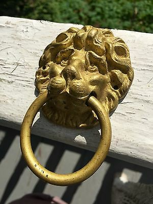 Vintage Brass Figural Lions Head Pull Super Detail Look!
