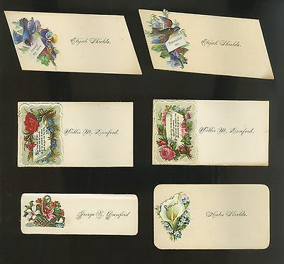 1895 Lot Of 6 Victorian Named Callings Card All Different