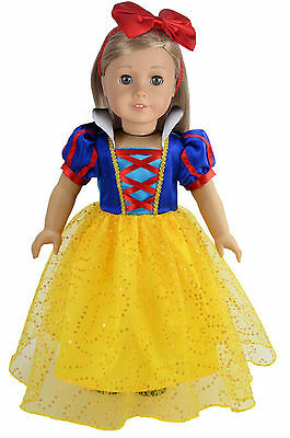 Halloween Costume Inspired By Snow White Doll Dress Fit 18'' American Girl Doll