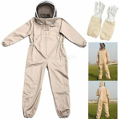 Full Beekeeping Suit Bee Suit Heavy Duty & Leather Ventilated Keeping Gloves