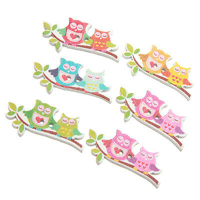 50pcs Colorful Double Owls Wood Buttons Sewing Scrapbooking DIY Jewelry Craft LC