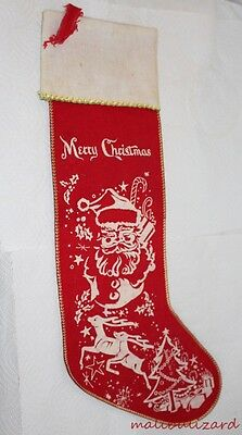 1950S Christmas Stocking Red Felt With White Painted Graphics  Excellent