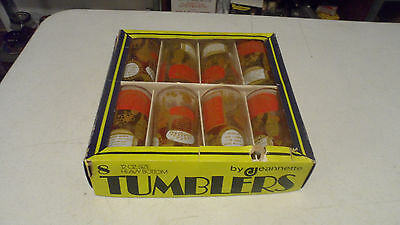 Rare Vintage Jeannette Tumblers Bar Whiskey Drink Glasses In Box Set Of 8