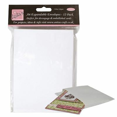 Anita's (Docrafts) Expandable Paper Craft White A6 Envelopes (12 pack)
