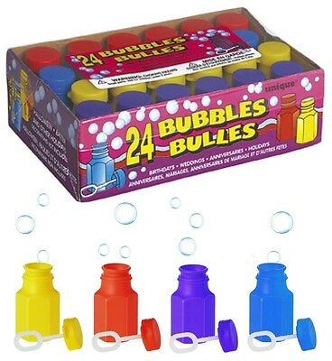24 PARTY BUBBLES & Wands (Assorted Colour Tubs/Loot Bag Toys/Birthday/Wedding)