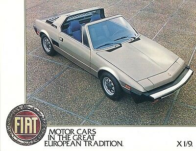 1980 Fiat X1/9 USA Edition Sales Sheet Brochure