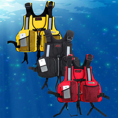 Unisex Adult Life Vest Jacket Fishing Pocket Buoyancy Aid Kayak Canoe 3 Colors