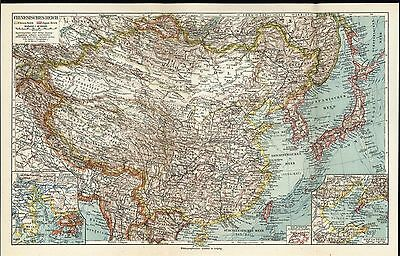 Chinese Empire Japan Korea Yellow Sea Taiwan c.1927 antique color lithograph map