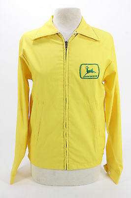 1960-70s Vintage John Deere Lightweight Jacket Mens Small Yellow Poly-Cotton