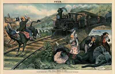 Democratic Donkey On Railroad Tracks Locomotive Republican Elephant Clown