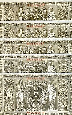 LOT Germany, 5 x 1000 (1,000) Mark, 1910, Pick 44 (44b), aUNC - UNC