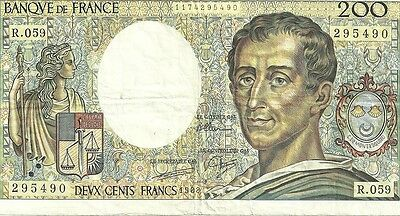 1988 Bank of france 200 francs currency note paper money
