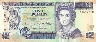 1991 Central bank of belize two dollar curency note paper money 2 dollars