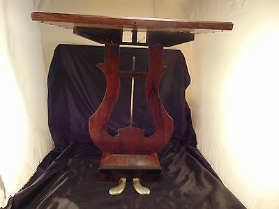 "Antique harp end table dark wood 2 foot pedals 23"" high leaf design music art"