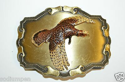 WOW Great old Vintage 1978 High End Raintree Turkey Hunting Brass Belt Buckle
