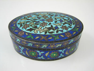 Indian India Blue Green Enameled Sterling 92.5 Silver Oval Trinket Box 107.3g