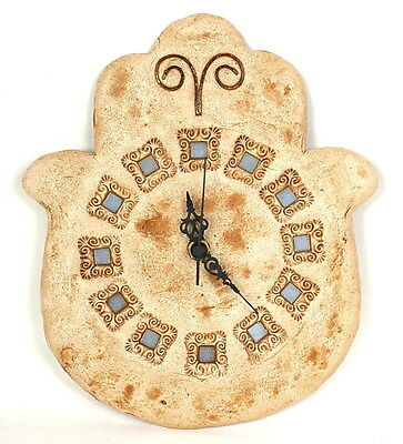 Decorative HAMSA WALL CLOCK Oriental Style Hand Good Luck Protection Ceramic Art