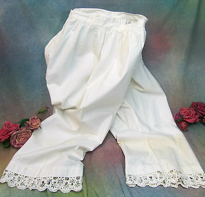ANTIQUE Victorian PANTALOONS split drawer BLOOMERS handmade lace FULL LENGTH