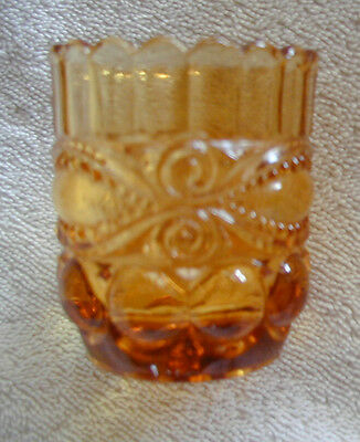 L. G. Wright Amber Eyewinker Eye Winker Match Toothpick Holder