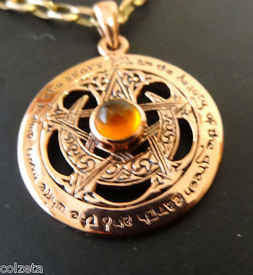 BEAUTIFUL MOON & PENTACLE PENDANT - COPPER and AMBER with writing inscribed