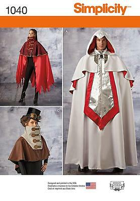 Simplicity Sewing Pattern Half Price Misses' & Mens Cape Costumes Comic  1040