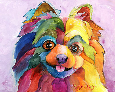 Pomeranian Too 8X10 DOG  print by Artist Sherry Shipley