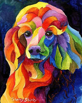 Poodle Two 8X10 DOG print by Artist Sherry Shipley