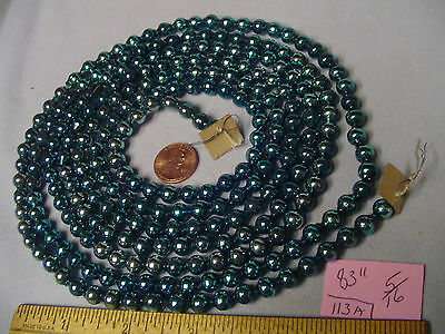 "Christmas Garland Mercury Glass Blue 83"" Long 5/16"" Beads #113A Vintage"