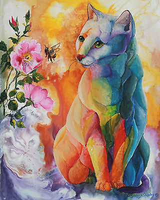 BEE AWARE 8x10  CAT Art Print by Sherry Shipley
