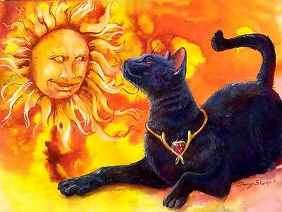 SUN WHORSHIPER 8x10 CAT  Art Print by Sherry Shipley