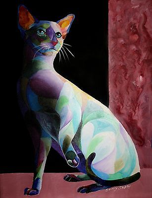 SIAMESE SHADOW ONE 8x10 CAT Art Print by Sherry Shipley