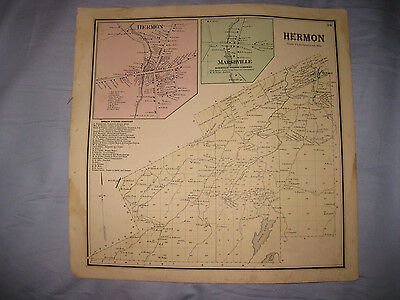 Antique 1865 Hermon Marshville St Lawrence County New York Handcolored Map Nr