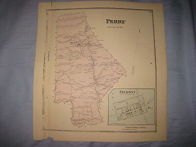 Antique 1868 Perry Township Fremont Snyder County Pennsylvania Map Detailed Nr