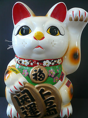 "Japanese XXL 15""Jumbo Lucky Maneki Neko Cat Coin Bank/Ceramic Figurine"