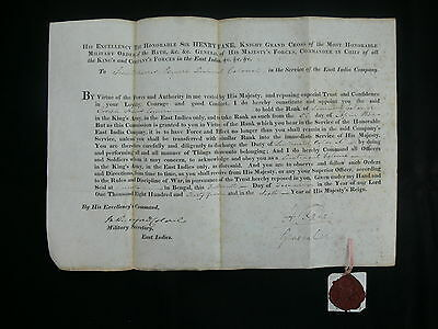 Bengal Infantry 1805-45 East India Co. Lieut-General's Commissions (6) & Docs