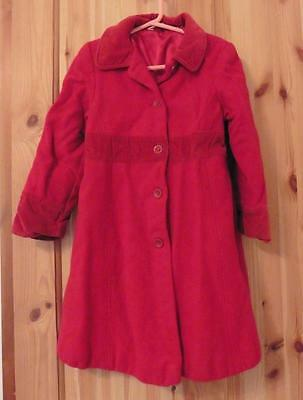 4-5-6y GEORGE girls red wool traditional winter coat