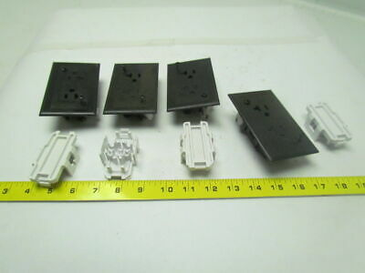 Hubbell WDRU Single flush mount receptacle self contained 15A 125V brown Lot of4