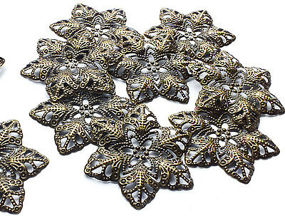 10 Filigree Flower Stamped Embellishment Decoration Charm 35mm Bronze tone Metal