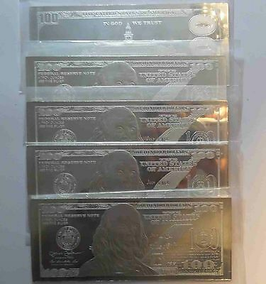 DISCOUNTED! 5 X 4oz CURRENCY SILVER BARS = 20 OZS 2019 FRANKLIN $100 + COA FLAWS