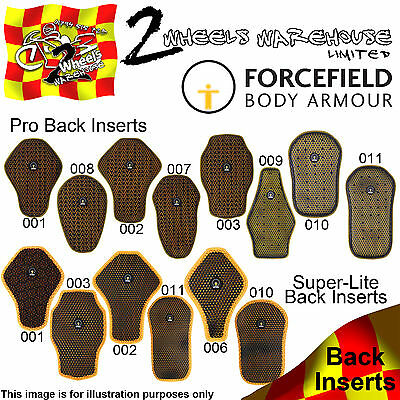 Forcefield Pro Back Protector & Super Lite Inserts Motor Cycle Leather Jackets