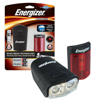 NEW Energizer LED Front & Rear Bike Light Set Road Beam Tech and Incl Batteries!