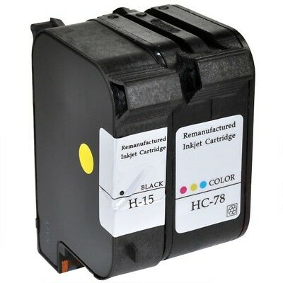 15 C6615DE & 78 C6578AE Black & Colour Ink Cartridges Remanufactured for HP